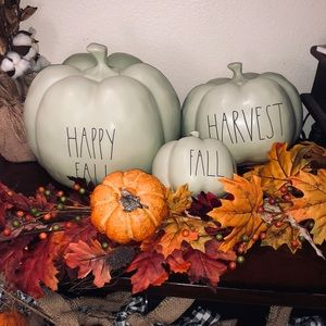 Rae Dunn Green Pumpkin Set